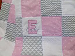 personalized baby quilt baby quilt with name pink gray and