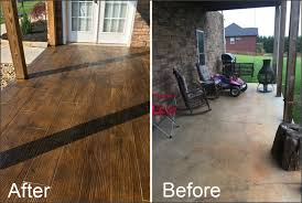 Wood Grain Stamped Concrete by Finished Stained Concrete Overlay With Natral Wood Looking Planks