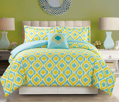 Bed In A Bag Sets Full by 4 Piece Yellow Blue Print Comforter Set