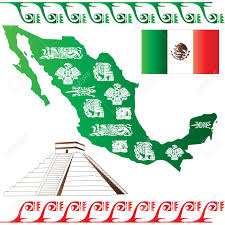 vector of mexican map with flag and mayan pattern isolated on