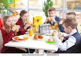 Kids Eating Table Children Sitting Cafeteria Table While Eating Stock Photo