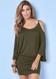 cold shoulder dress cold shoulder dress in olive venus