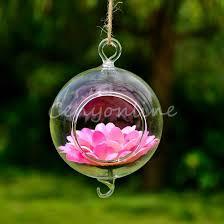 Round Flower Vases New Stylish Transparent Hanging Glass Ball Plants Flower Vase