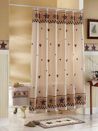 Country House Collection Curtains Country Primitive Folk Art Stars Hearts Fabric Bathroom Shower