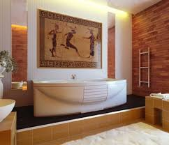 bathroom greek style on bathroom design with old painting on