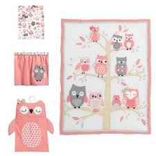 lambs u0026 ivy r family tree owl coral gray gold 4 piece crib