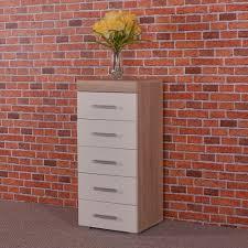 White High Gloss Bedroom Tallboy Oak 5 Drawer Chest Ebay