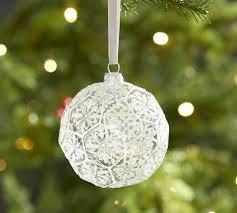 snowflake glass ornament pottery barn