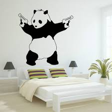 popular gangsters wall art buy cheap gangsters wall art lots from 2017 new large bad panda banksy gangster guns wall art decal vinyl sticker for bedroom