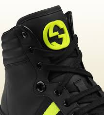high top motorcycle shoes gucci black leather and neon high top sneaker from viaggio