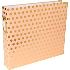 gold photo album project blush with gold dots scrapbook album 12 x 12 inches