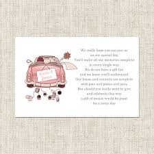 wedding gift list poems wedding car gift poem card wedding stationery