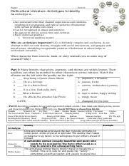 character archetypes worksheet 1 name period multicultural