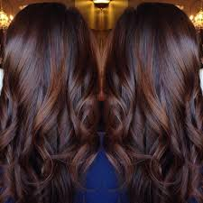 brunette hairstyle with lots of hilights for over 50 long curled chocolate brown hair with cinnamon highlights hair