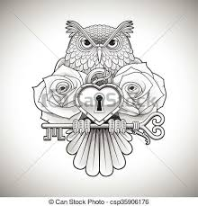 vectors illustration of beautiful black tattoo design of an owl