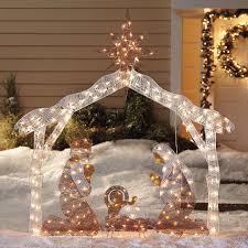 lighted nativity sets lights decoration