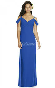 light royal blue chiffon off the shoulder floor length bridesmaid