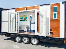 Tiny Mobile Homes For Sale by Man Converts Shipping Container Into Tiny Home On Wheels