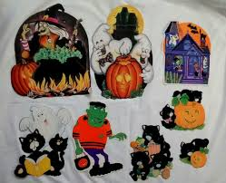 vintage halloween die cut cardboard decorations lot flocked