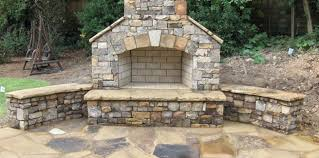 Outdoor Fieldstone Fireplace - stone and brick custom fireplace company