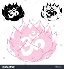 Lotus Flower With Om Symbol - set three vector lotus flowers om stock vector 368697455