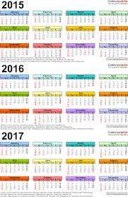 2015 2016 2017 calendar 4 three year printable pdf calendars