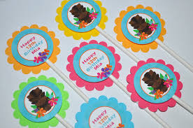personalized cupcake toppers luau birthday cupcake toppers hawaiian luau birthday decorations