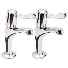Sagittarius Contract High Neck Lever Pillar Kitchen Taps Pair CL - Kitchen sink pillar taps