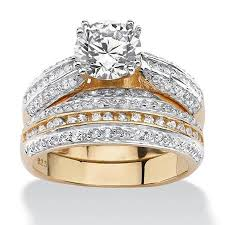 silver and gold engagement rings buy 2 55 tcw cubic zirconia 18k gold sterling silver bridal