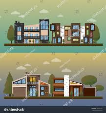 vector flat illustration two family house stock vector 367643150