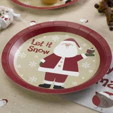 let it snow santa claus 8 plates ruffles