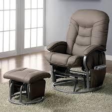 coaster chenille glider and ottoman in chocolate coaster faux leather glider and ottoman in beige 600228ii