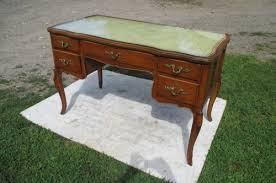 Office Desk Leather Top Vintage Style 5 Drw Leather Top Oak Writing Office Desk
