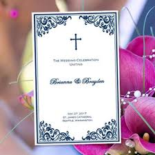 print your own wedding programs catholic wedding program faith navy blue 8 5 x 11 fold word doc