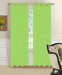 pair of lime green voile sheer window curtains 54 x 84 inch size