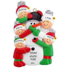 family of 5 building snowman ornament