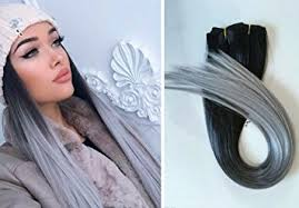 silver hair extensions one clip in hair extensions black to silver grey