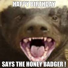 Meme Honey Badger - happy birthday says the honey badger honey badger bday wishes