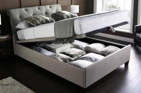 King Ottoman Kaydian Bru 6ft King Size Linen Fabric Ottoman Bed Morale