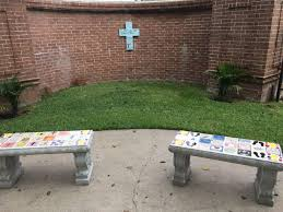 Outside Benches For Schools High Senior Constructs Prayer Garden For Grandparents