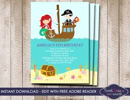 mermaid and pirate invitation instant download mermaid and pirate