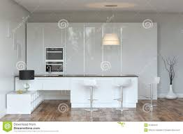 white luxury hi tech kitchen with bar front view stock photo
