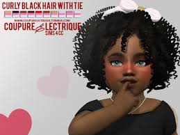 the sims 4 natural curly hair lana cc finds curly black hair with tie ts4 toddlers hair
