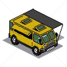 pixel art car pixel art caravan vector image 1959090 stockunlimited