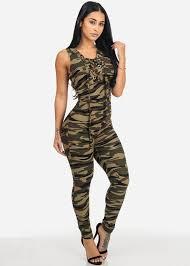 bodycon jumpsuit camo print lace up neck bodycon jumpsuit