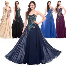 strapless peacock long prom evening formal dresses purple