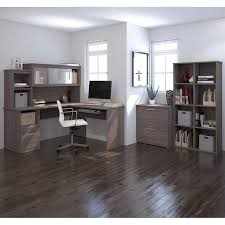 L Shape Desks Sutton L Shape Desk With Hutch Lateral File And Cubby Bookcase