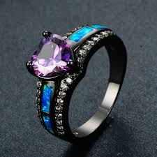 opal rings jewelry images Women purple heart ring blue fire opal rings bamos jewelry jpg