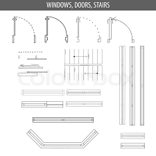 set of linear icons for interior top view plans furniture and