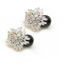 diamond earrings online buy crysler american diamond earrings with black colored stones